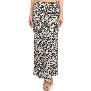 Women's Black Scroll Floral Maxi Skirt