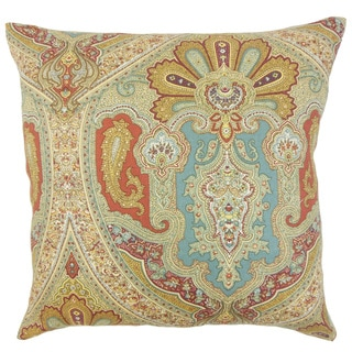 Kenia Damask Down and Feather Filled Throw Pillow with Hidden Zipper Closure 18-inch Turquoise
