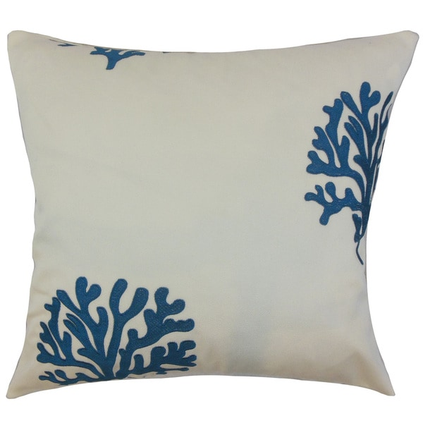 Maud Coastal Down and Feather Filled Throw Pillow with Hidden Zipper Closure 18-inch Blue