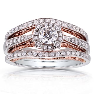 Annello 14k White Gold and Rose Gold Underside 5/8ct TDW Diamond Unique Halo Bridal Rings Set (H-I, I1-I2)