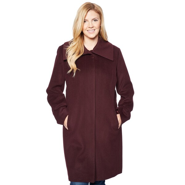 Cole Haan Women's Signature 355WW895 Plus Size 38-inch Snap Front Coat With on-seam Pockets