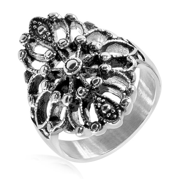 Antique Flower Stainless Steel Ring - 25mm Wide