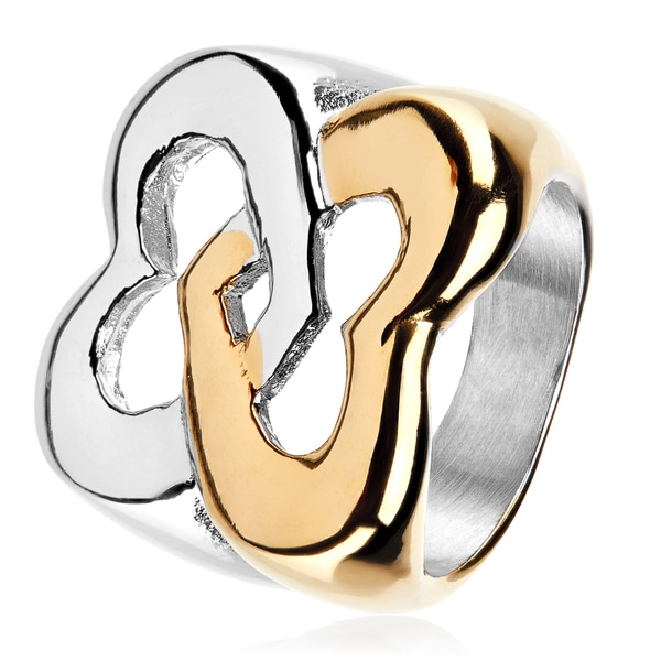 Intertwined Hearts Two Tone Polished Stainless Steel Ring - 20mm Wide