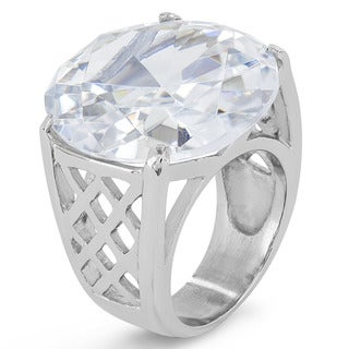 Stainless Steel Oval Cubic Zirconia Polished Ring