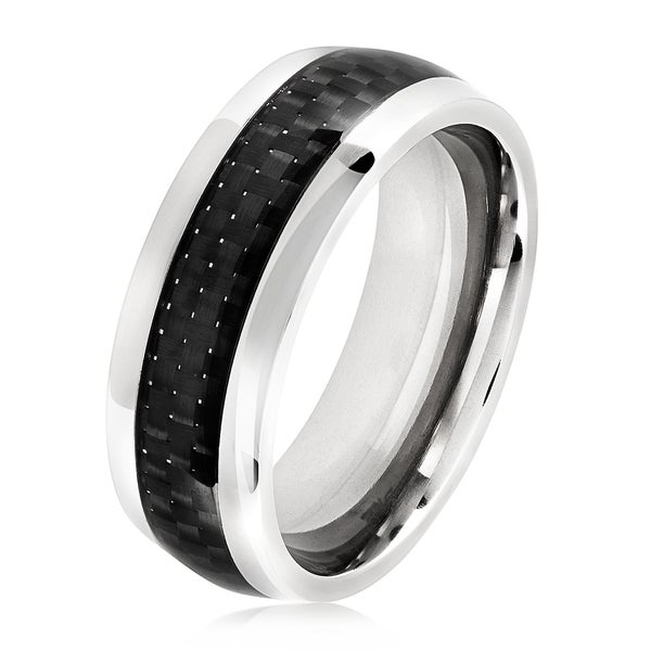 Men's Polished Titanium Black Carbon Fiber Inlay Flat Ring - 8mm Wide