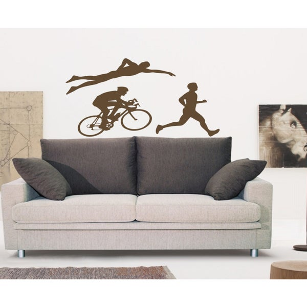 Triathlon sport Wall Art Sticker Decal Brown