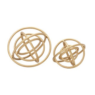 Set of 2 Golden Orb Rings Decor10-inch, 8-inch