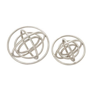 Set of 2 Aluminum Ring Patterned Orb Nickel 10-inch, 8-inch