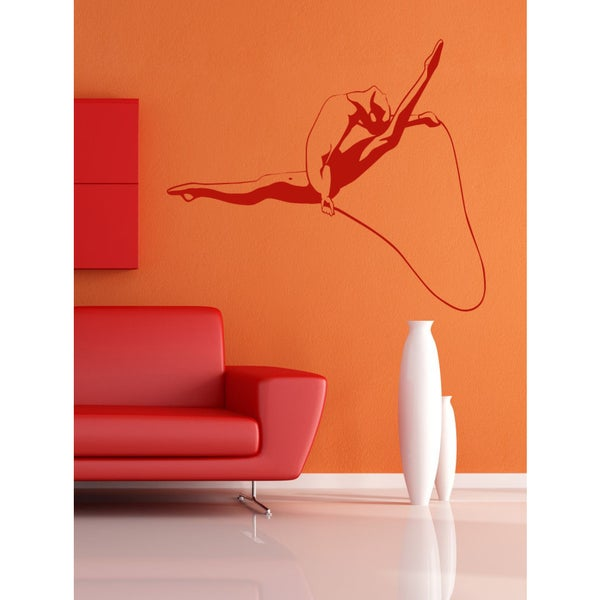 The gymnast with skipping rope Wall Art Sticker Decal Red