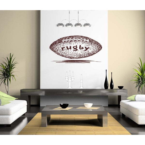 Rugby ball Wall Art Sticker Decal Brown