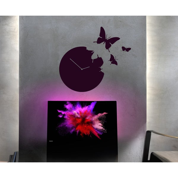 Clock time is running Butterflies Wall Art Sticker Decal Red