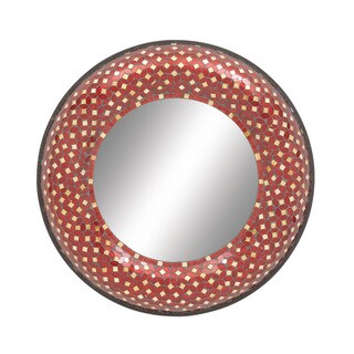 Metal Red Mosaic Mirror 24-inch