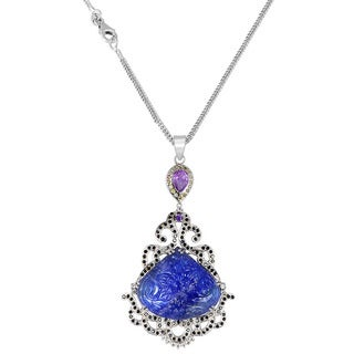 Orchid Jewelry One of A Kind 925 Sterling Silver Necklace 68.38ct TGW Genuine Tanzanite Amethyst and Black Spinal
