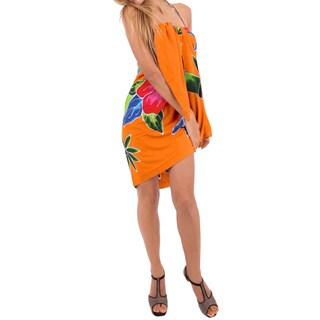 La Leela Hibiscus Cluster Branch Soft Rayon Coverup Sarong Wrap 78X43Inch Orange