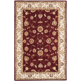 Safavieh Hand-hooked Total Perform Red/ Ivory Acrylic Rug (6' x 9')