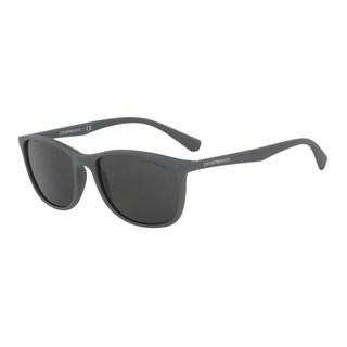 Emporio Armani Men's EA4074 550287 Grey Plastic Rectangle Sunglasses