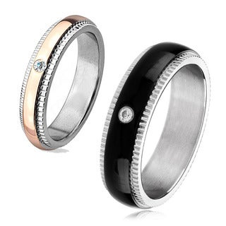 Cubic Zirconia Two Tone Polished Titanium Domed Ring - 4mm Wide