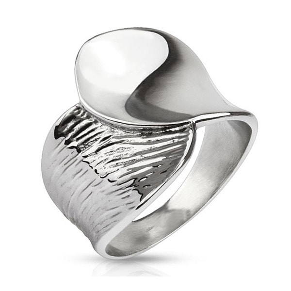 Concave Polished Stainless Steel Ring - 19mm Wide