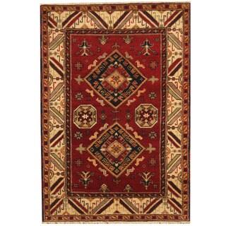 Herat Oriental Indo Hand-knotted Tribal Kazak Red/ Ivory Wool Rug (4'2 x 6')