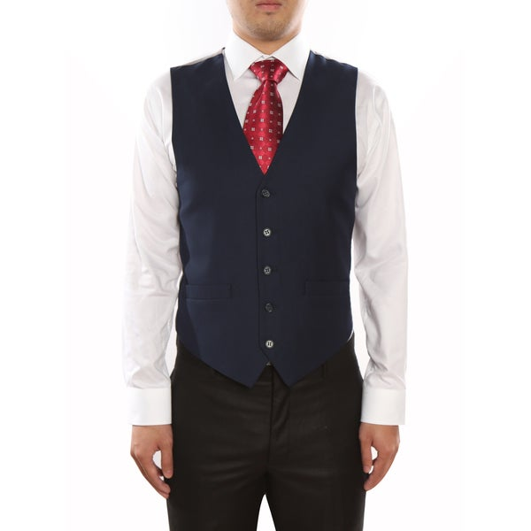 Verno Navy Men's Five Button Classic Fit Vest