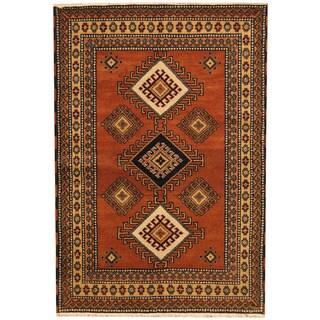 Herat Oriental Indo Hand-knotted Tribal Kazak Rust/ Ivory Wool Rug (4'1 x 6')