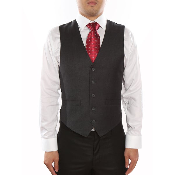 Verno Dark Grey Men's Five Button Classic Fit Vest