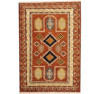 Herat Oriental Indo Hand-knotted Tribal Kazak Rust/ Ivory Wool Rug (4'2 x 5'11)