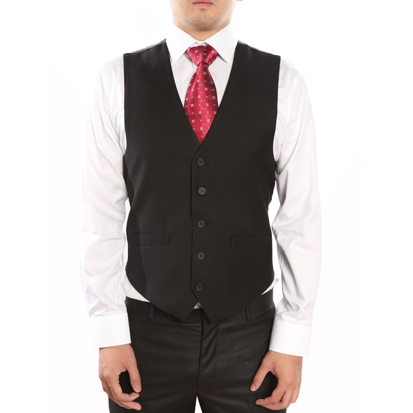 Verno Black Men's Five Button Classic Fit Vest
