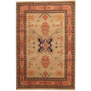 Herat Oriental Indo Hand-knotted Tribal Kazak Beige/ Rust Wool Rug (6'7 x 9'9)