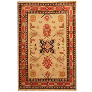 Herat Oriental Indo Hand-knotted Tribal Kazak Gray/ Red Wool Rug (6'5 x 9'9)