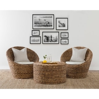 Kosas Home Gia Mahogany Abaca and Croco Hand Woven Chair