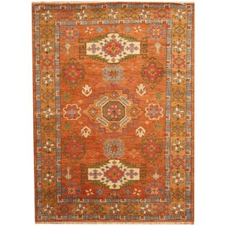 Herat Oriental Indo Hand-knotted Tribal Kazak Rust/ Light Blue Wool Rug (5'9 x 7'10)