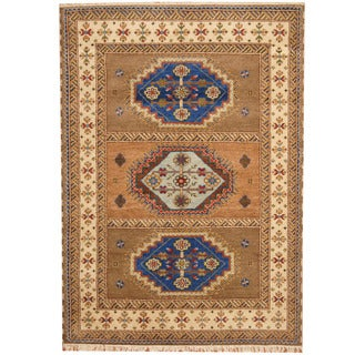 Herat Oriental Indo Hand-knotted Tribal Kazak Beige/ Ivory Wool Rug (5'10 x 8'1)
