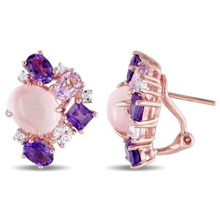Miadora Rose Silver Rose Quartz Amethyst Rose de France and White Topaz Stud Cluster Earrings