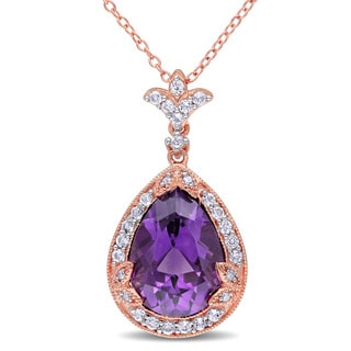 Miadora Rose Plated Silver Amethyst and White Topaz and Diamond Accent Teardrop Necklace