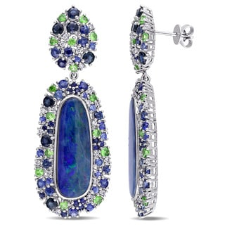 Miadora 14k White Gold Australian Blue Opal Tsavorite Sapphire and 1/2ct TDW Diamond Halo Dangle Earrings (G-H, SI1-SI2)