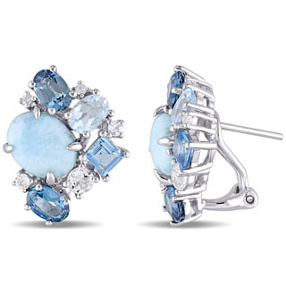 Miadora Sterling Silver Larimar and Blue Topaz with White Topaz Stud Cluster Earrings