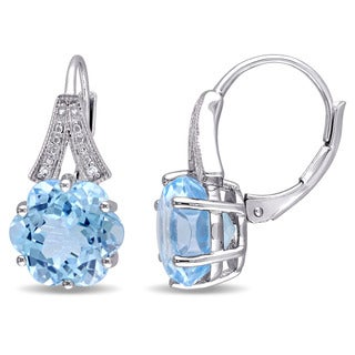 Miadora Sterling Silver Fancy Sky Blue Topaz and Diamond Accent Solitaire Earrings