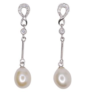 Kabella Sterling Silver Freshwater Pearl and Cubic Zirconia Accent Infinity Dangling Earrings (8mm)