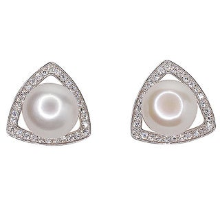 Kabella Sterling Silver 8mm Freshwater Pearl and Cubic Zirconia Triangle Design Earrings