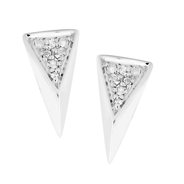Sterling Silver Diamond Accent Arrowhead Earrings