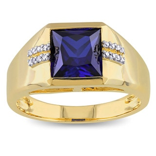 Miadora 10k Yellow Gold Created Blue Sapphire and Diamond Accent Mens Ring