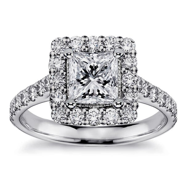 Platinum 1 4/5ct TDW Princess-cut Square Halo Diamond Engagement Ring (G-H, SI1-SI2)
