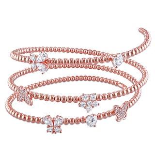 Miadora Rose Plated Silver Cubic Zirconia Spiral Bangle Bracelet