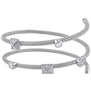 Miadora Sterling Silver Cubic Zirconia Spiral Bangle Bracelet