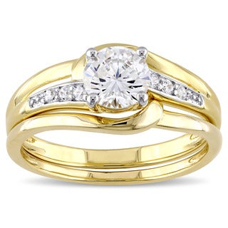 Miadora Yellow Silver Channel Set Cubic Zirconia Bridal Wedding Ring Set