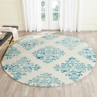 Handmade Safavieh Dip Dye Ivory/ Light Blue Wool Rug (7' Round)