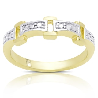 Finesque Gold Over Sterling Silver Rectangle Link Diamond Accent Ring (I-J, I2-I3)