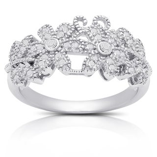 Finesque Silver Overlay Diamond Accent Flower Design Ring (I-J, I2-I3)