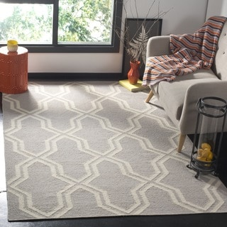 Safavieh Hand-woven Dhurries Grey/ Ivory Wool Rug (6' Square)